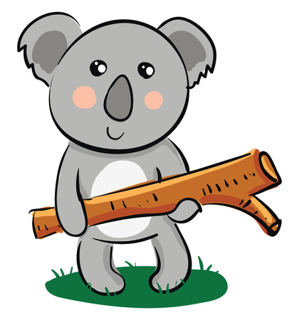 A cute little cartoon Koala holding a piece of timber wood expresses sadness vector color drawing or illustration Illustration