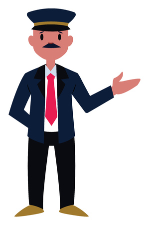 Train conducter character vector illustration on a white background