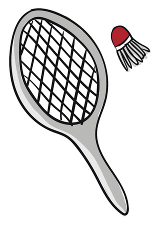 A pair of grey badminton bat and a red shuttlecock having few feathers placed on the ground next to each other vector color drawing or illustration