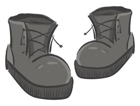 Ein Paar große graue Stiefel mit Schnürdetails, die sowohl von Männern als auch von Frauen verwendet werden, Vektorfarbzeichnung oder Illustration Vektorgrafik