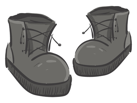 A pair of large grey boots with lace-up detail used by both men and women vector color drawing or illustration
