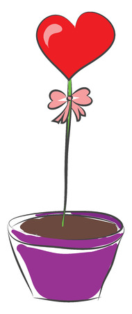 A heart-shaped balloon with a pink-colored bow growing out of the violet colored flower pot vector color drawing or illustration Çizim