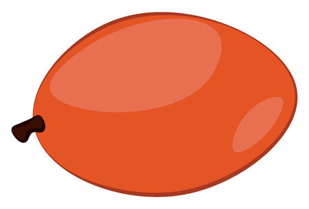 Clipart of a fleshy oval red-colored mango with a small brown stalk and has no leaves It is a tropical juicy stone fruit eaten ripe vector color drawing or illustration