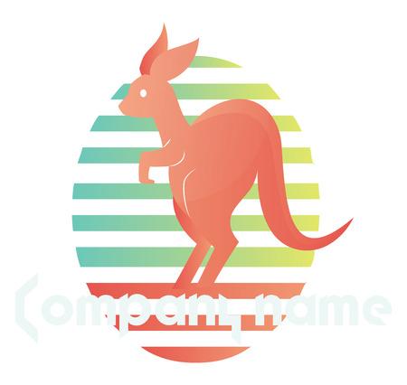Kangourou rose à l'intérieur d'un logo vectoriel ellipse coloré sur fond blanc Logo