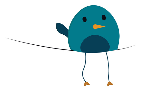 A fat blue bird with a yellow beak sitting on a string vector color drawing or illustration Illustration