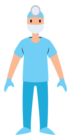 Surgeon character vector illustration on a white background