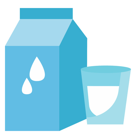 A blue-colored glass cup placed closer to a blue-colored milk pack are with designs like dewdrop and other vector color drawing or illustration Illustration