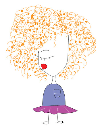 A child with orange curly hair purple dress standing straight vector color drawing or illustration