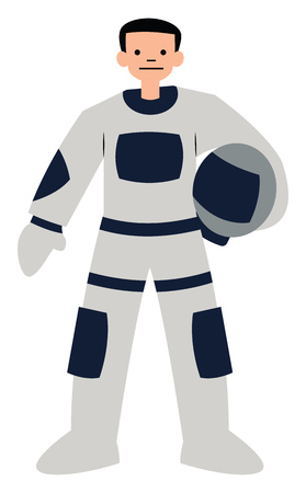 Astronaut character vector illustration on a white background  イラスト・ベクター素材