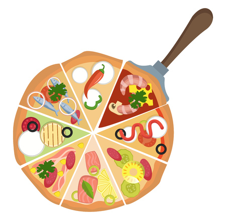 Different kinds of pizza illustration vector on white background  イラスト・ベクター素材