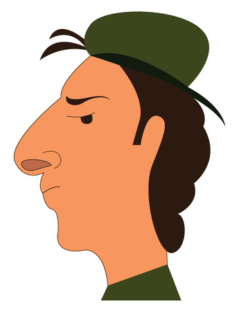 The side view of a man wearing a military green hat vector color drawing or illustration