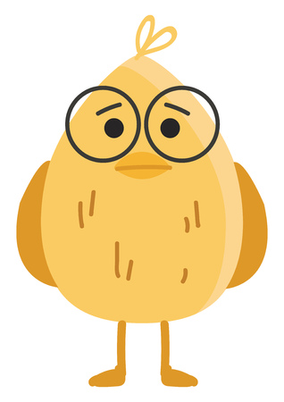 A yellow oval shaped bird wearing brown glasses having two legs and a sad expression on the face vector color drawing or illustration