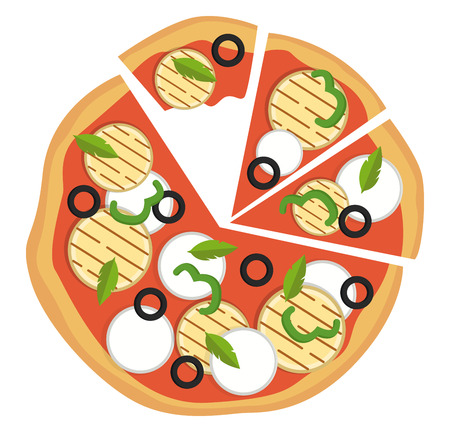 Colorful vegetarian pizza illustration vector on white background