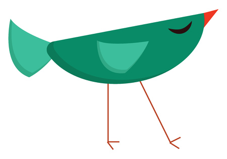 A green bird in the shape of a semicircle with triangular tail feathers and wings long red colored legs and a beak vector color drawing or illustration