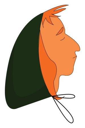 A man in a green-colored hood with his eyes closed has orange-colored hair and a trendy hairstyle vector color drawing or illustration Imagens - 123412147