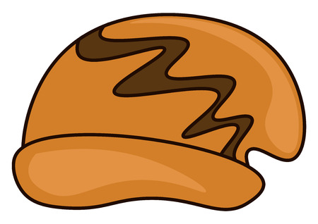 A brown colored hat with a curve design on it used in winter season vector color drawing or illustration Illustration