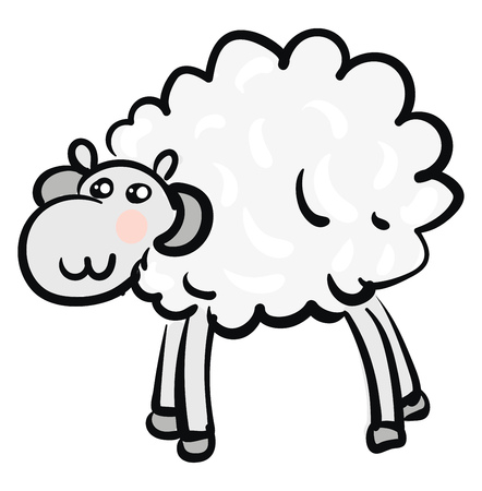 A mountain ram with white wool and grey horns is standing vector color drawing or illustration Illustration
