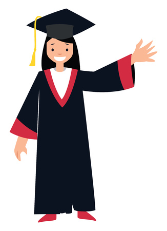 Female student character vector illustration on a white background