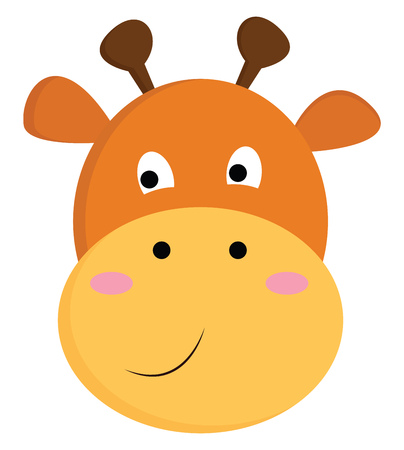 A happy cartoon giraffe having two horns two ears with a smile on the face vector color drawing or illustration Foto de archivo - 123412159