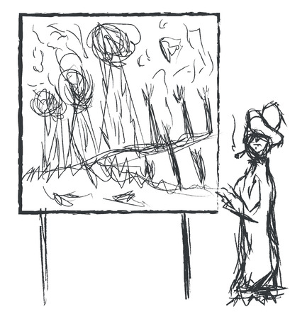 A black-colored ink drawing of a painter along with her painting painted in a whiteboard with stand vector color drawing or illustration  イラスト・ベクター素材