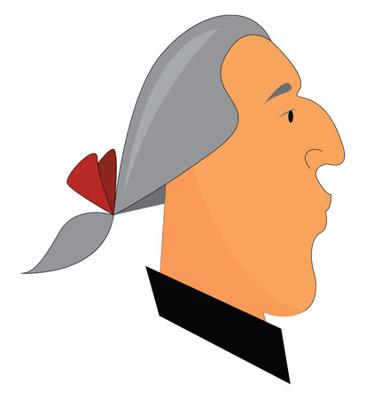 A man in a grey-colored wig has tied up his hair with a red-colored ribbon He is dressed in a black-colored shirt and has a large curved nose vector color drawing or illustration Ilustração