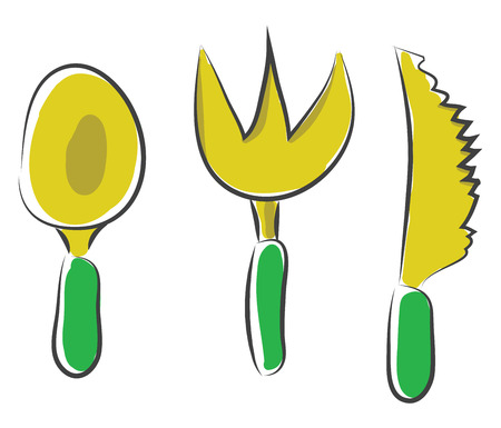 Cartoon Noah spoon knife and fork in yellow and green-colored combinations used while eating vector color drawing or illustration 矢量图像