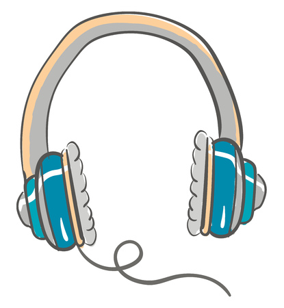 Large blue and grey headphones with cushions on the side with one wire coming out of the right side vector color drawing or illustration Illusztráció