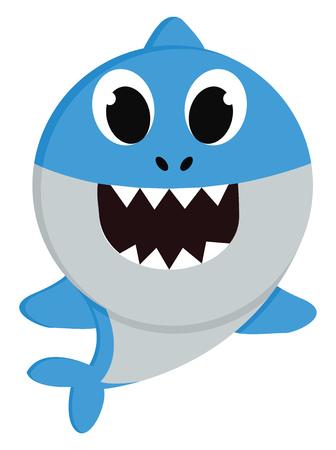 Un piccolo squalo blu che nuota nel mare con grandi occhi denti appuntiti e minuscole pinne blu disegno o illustrazione vettoriale a colori Vettoriali