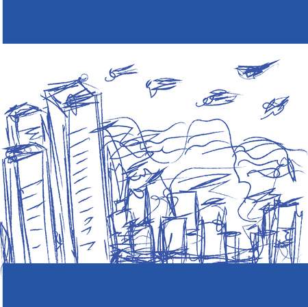 A pen sketch of a cityscape with and short buildings and a few birds flying high vector color drawing or illustration Ilustrace