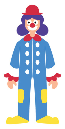 Clown character in colorful suit vector illustration on a white background