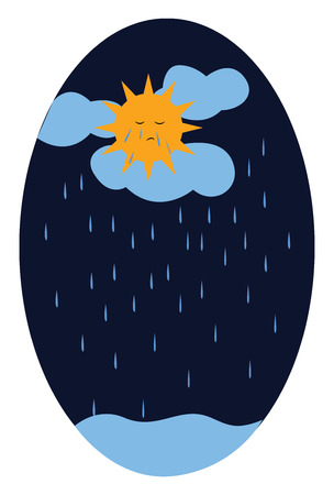 Sad sun on a rainy and gloomy day vector color drawing or illustration Иллюстрация