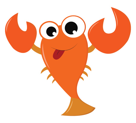 An orange crawfish with big eyes two claws and six tentacles is swimming in the ocean vector color drawing or illustration