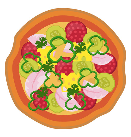 Colorful salami pizza illustration vector on white background Vettoriali