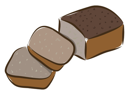A loaf of brown bread sliced in two slices vector color drawing or illustration