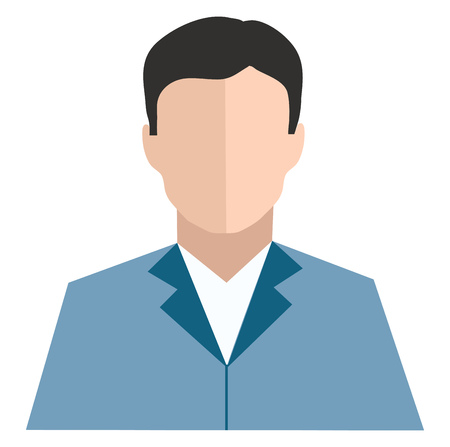 Clipart of a man in blue-colored coat suit looks handsome and has no eyes nose and lips vector color drawing or illustration