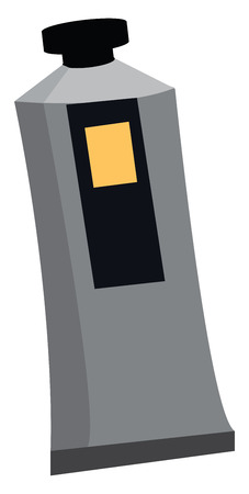 Cartoon oil color in a grey-colored plastic bottle with a black-colored cap and has a yellow-colored switch-like design in one of its sides vector color drawing or illustration