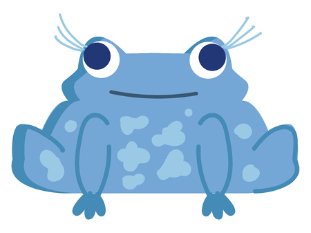 A pretty blue frog sitting and having three long eyelashes protruding out and also having a smiling face vector color drawing or illustration