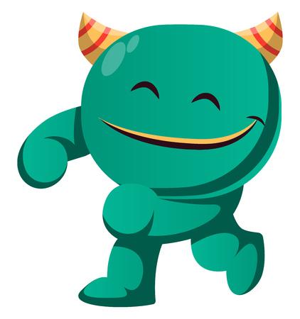 Satisfied green monster vector illustration