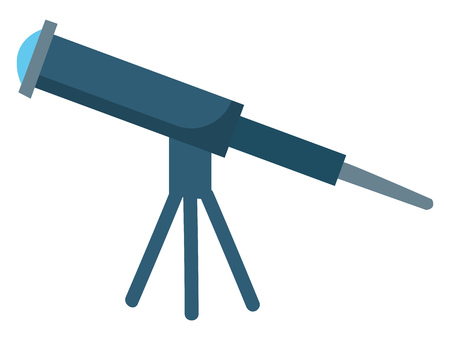 A large blue telescope set on a tripod having light blue lens used to visualize stars vector color drawing or illustration Ilustracja
