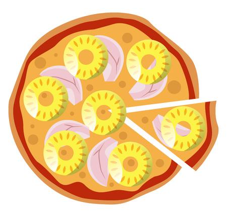 Hawaiian pineapple pizza illustration vector on white background