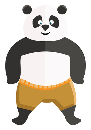 A big Kungfu panda with an inverted triangular-shaped nose gives a broad smile in a standing position vector color drawing or illustration