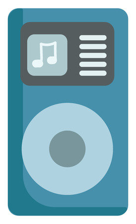 A digital audio player designed to select the desired music by navigating through the shuffle option vector color drawing or illustration Illustration