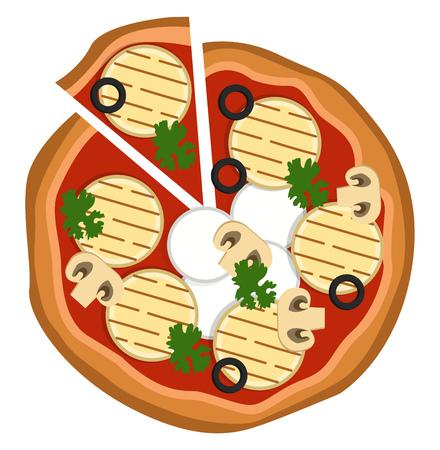 Grilled veggie pizza illustration vector on white background