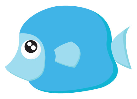 A big blue fish with big sparkly eyes and a sharp mouth vector color drawing or illustration Banque d'images - 121232326