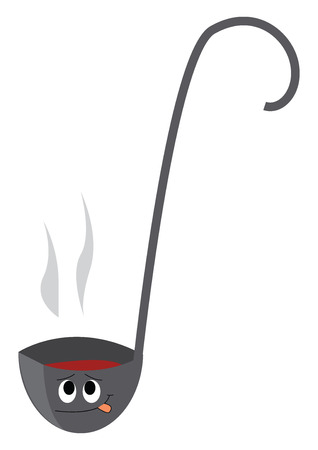 A big grey soup spatula with a bent handle and a smiley face on it with a steaming hot soup vector color drawing or illustration