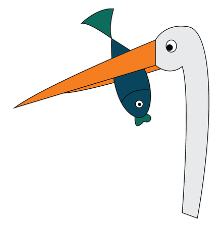 A white crane with a long neck and a long orange beak holding a green fish in its beak vector color drawing or illustration 矢量图像
