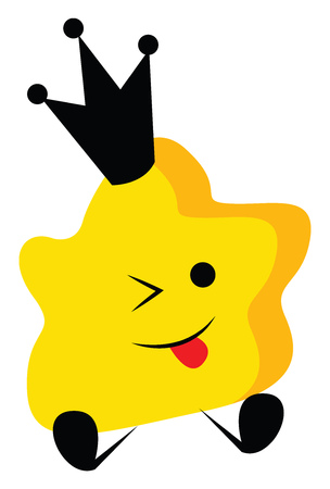 A yellow-colored cute little queen star is wearing a black-colored crown with its tongue hanging out while sitting vector color drawing or illustration