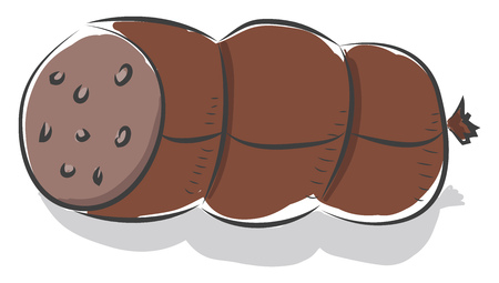 A packaged sausage with lobes of fat used for breakfast vector color drawing or illustration Illustration