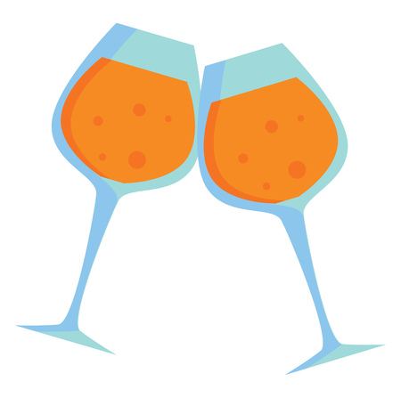 Pair of wine glasses with beverage clinking together for a toast vector color drawing or illustration Ilustração