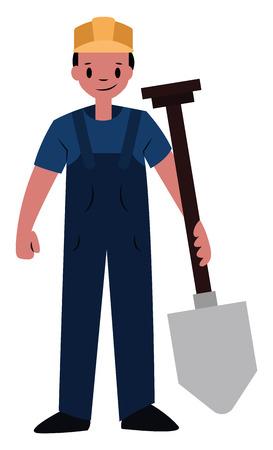 Builder chracter vector illustration on a white background Ilustração